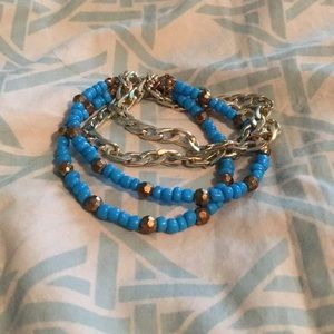 *FREE W/BUNDLE* Blue/Gold Beaded Chain Bracelet